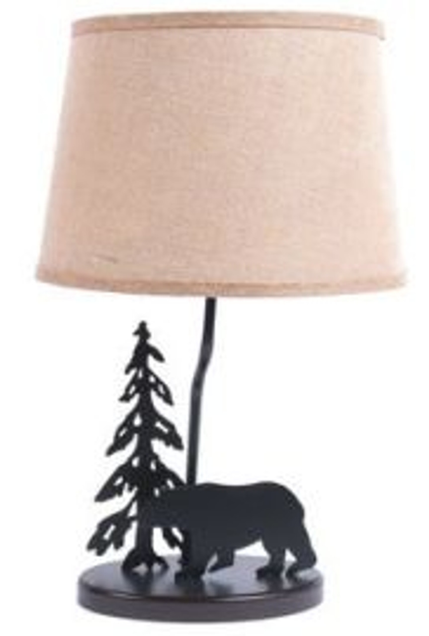 Bear Lamp With Burlap Shade