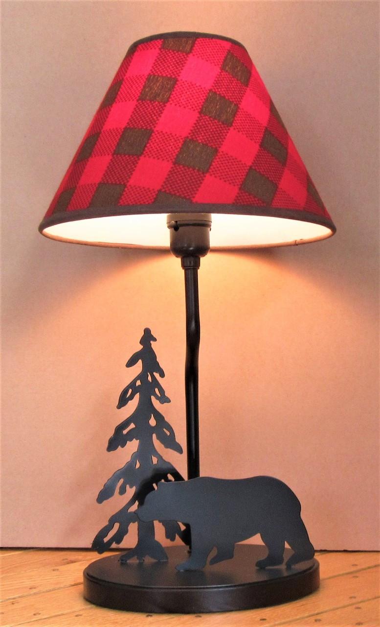 Bear Lamp With Buffalo Check Shade
