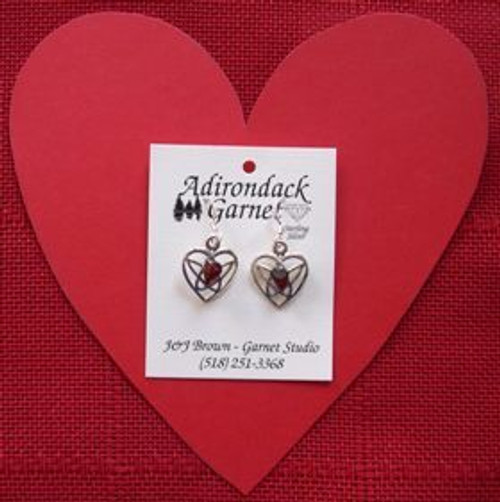 Garnet Heart Earrings