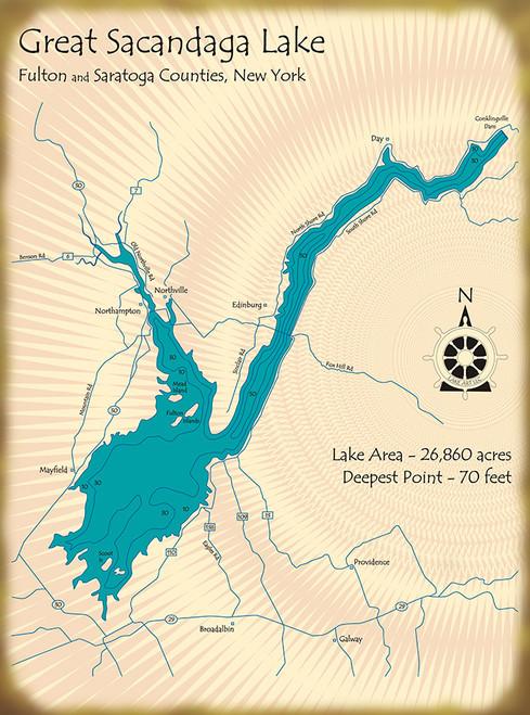 Great Sacandaga Lake Map