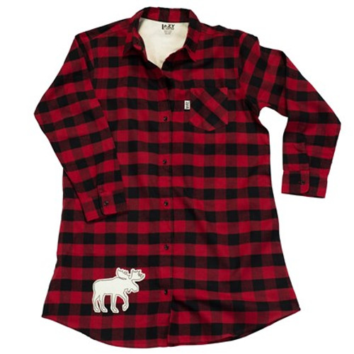 Buffalo Check Flannel Nightshirt with Moose
