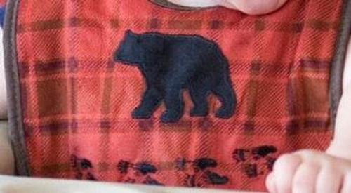 Red Plaid Bear Bib