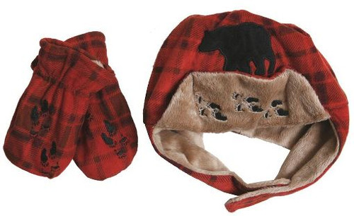 Red Plaid Bear Hat/Mitten Set