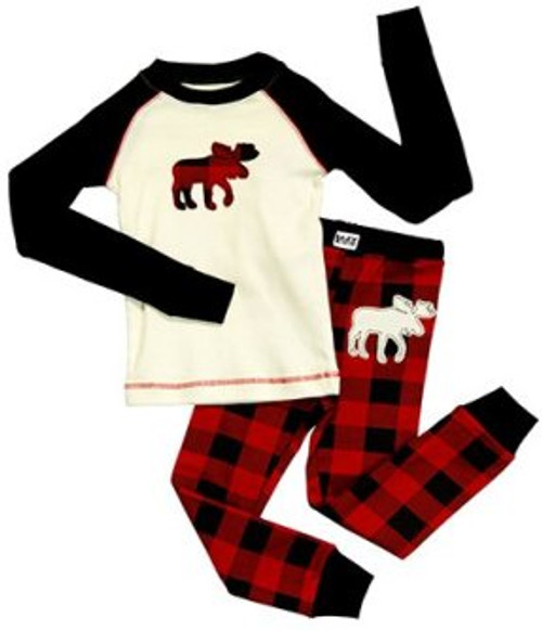 Moose Plaid Kids Pajamas