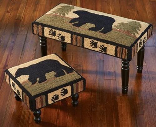 Adirondack Bear Hooked Bench and Stool