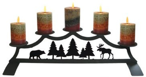 Moose and Bear Fireplace Pillar Holder