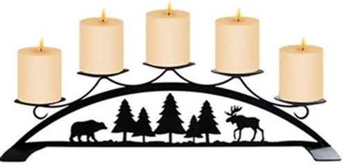 Moose and Bear table top pillar candleholder