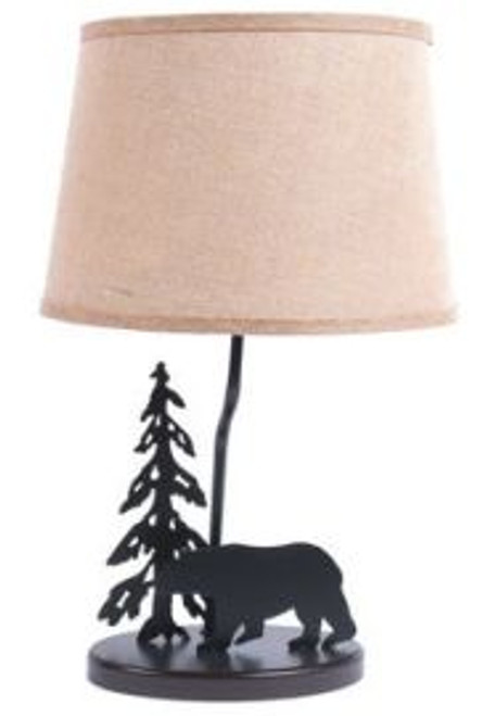 Bear Lamp with Burlap Shade