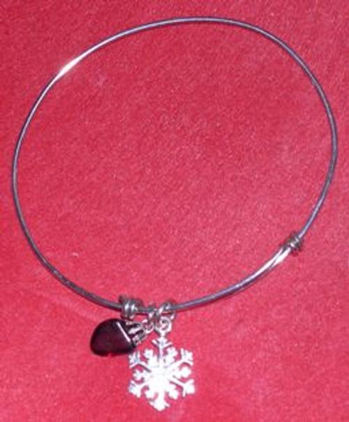 Garnet and Snowflake Bracelet
