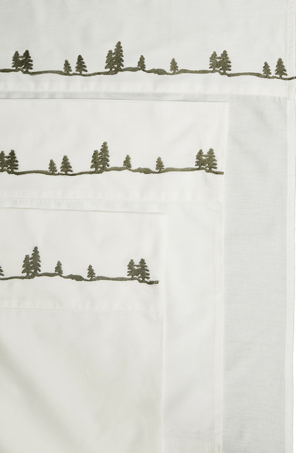 Embroidered  Pine Tree Sheets