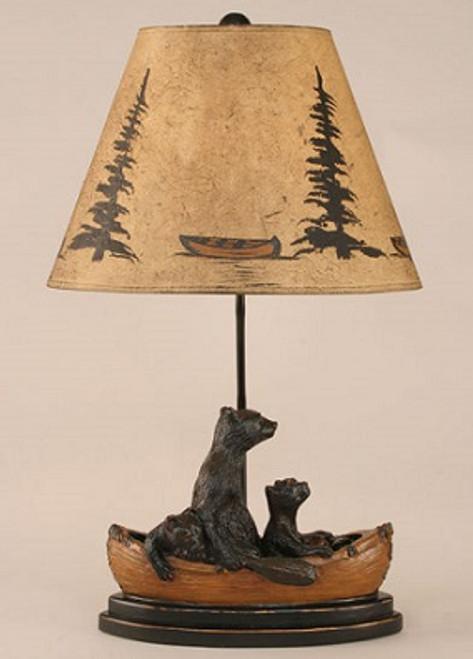 Bears in Canoe Lamp