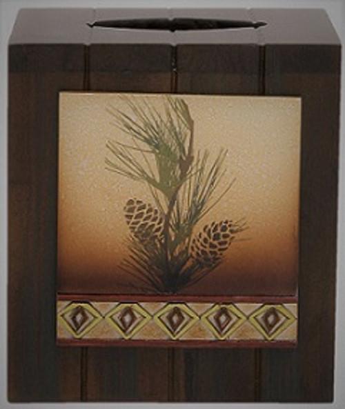 Pine Cone Silhouettes Tissue Cube