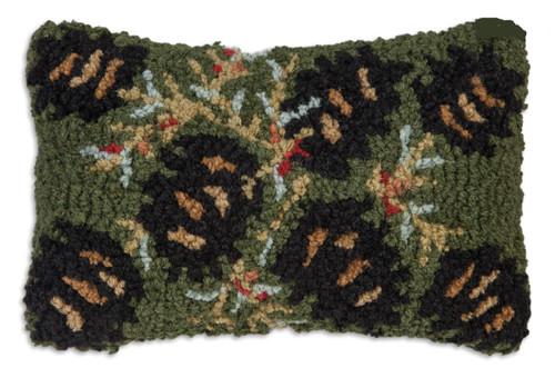 Diamond Pinecone Hooked Wool Pillow