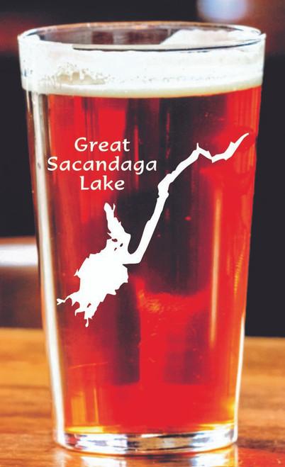 Pint glass with Great Sacandaga Lake etching