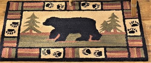 Bear Tracks Hooked Rug