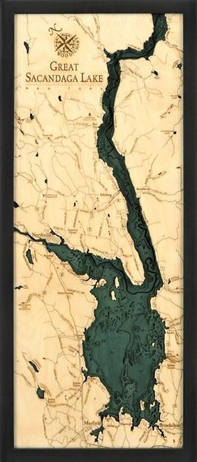 Great Sacandaga Lake Wood Cut Chart