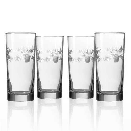 Icy Pine Etched Glass Cooler Highball, Set of Four