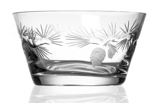 """Icy Pine Etched Glass Bowl - 6"""""""
