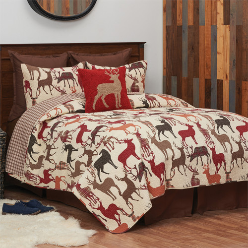 The Deer Country Quilt set has images of deer in a variety of country colors and is cotton and cotton blend.