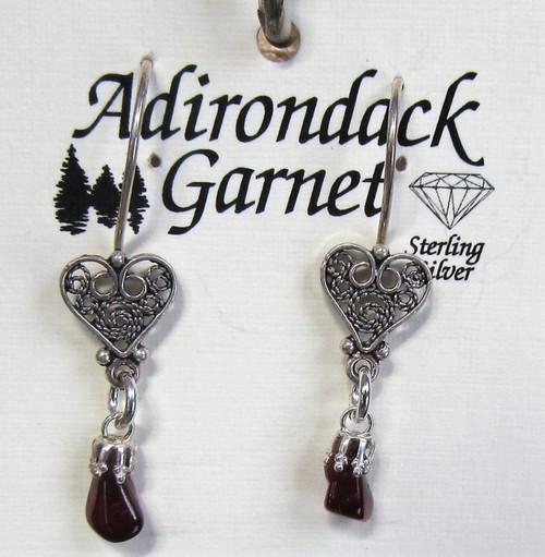 Garnet Heart Filigree Earrings