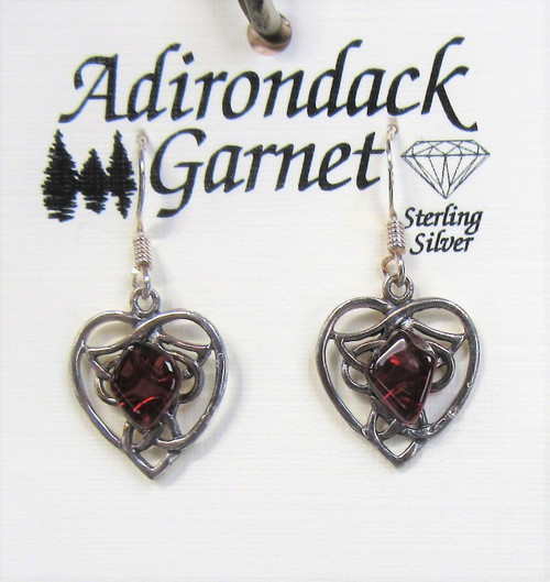 Pretty heart earrings in Sterling Silver with a piece of Adirondack garnet.