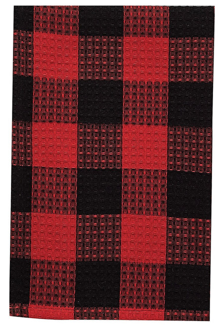 """This classic Buffalo Check dish towel is made with an extra thirsty waffle weave, 100% cotton, 18"""" x 28""""."""