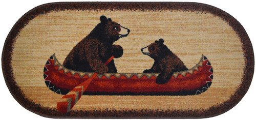 """This 20"""" x 44"""" oval rug with durable serged edges, non-slip rubber backing, is machine washable. Features 2 bears in a red canoe."""