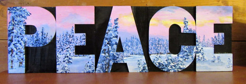 "Hand crafted and painted by a local artist, this original sign says PEACE. Measures 17"" x 5""."