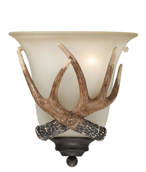 """Black Walnut Finish and Creme Cognac Glass beautify these sconces. Faux antlers accentuate the rustic look, perfect addition to the cabin. Measures 10"""" tall and 9"""" wide."""