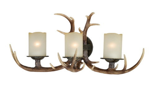 """Black Walnut Finish and Creme Cognac Glass beautify these sconces. Faux antlers accentuate the rustic look, perfect addition to the cabin. Measures 13"""" tall and 27.75"""" long."""