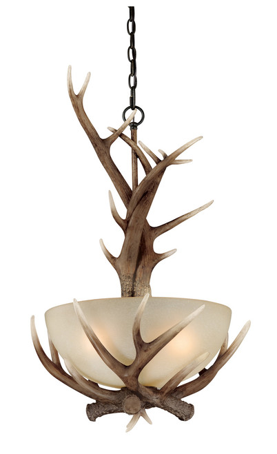 "Black Walnut Finish and Creme Cognac Glass beautify this pendant ceiling light. Faux antlers accentuate the rustic look, perfect addition to the cabin. Measures 30"" long and 19.5"" in diameter."