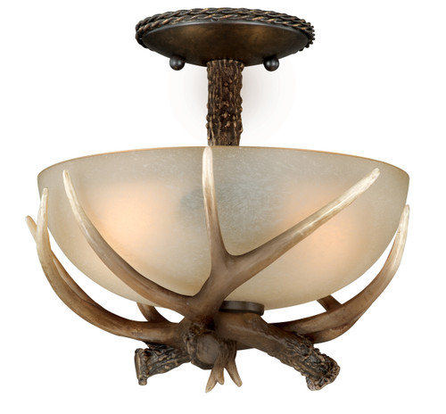 "Black Walnut Finish and Creme Cognac Glass beautify this 12"" semi-flush ceiling light. Faux antlers accentuate the rustic look, perfect addition to the cabin. Measures 11"" long and 12"" in diameter."