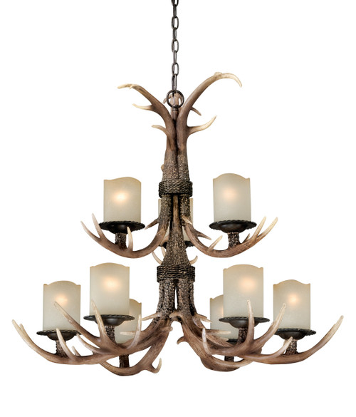 "Black Walnut Finish and Creme Cognac Glass beautify this 9 light chandelier. Faux antlers accentuate the rustic look, perfect addition to the cabin. Measures 36"" long and 29.5"" in diameter."