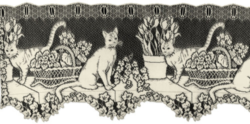 "Cute cats and flowers are shown on this ecru lace valance. Measures 60"" x 15""."