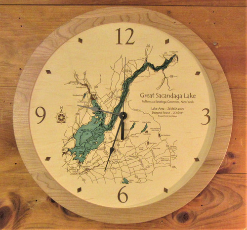Clock - Etched Map of the  Great Sacandaga Lake