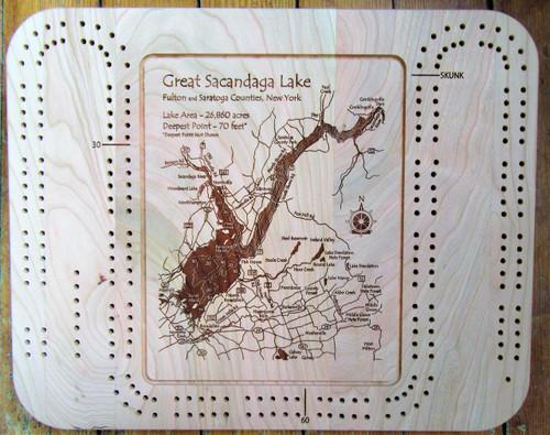 Cribbage Board - Etched Map of the Great Sacandaga Lake