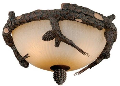 Log Cabin Ceiling Fan Light Kit - Pine Branch