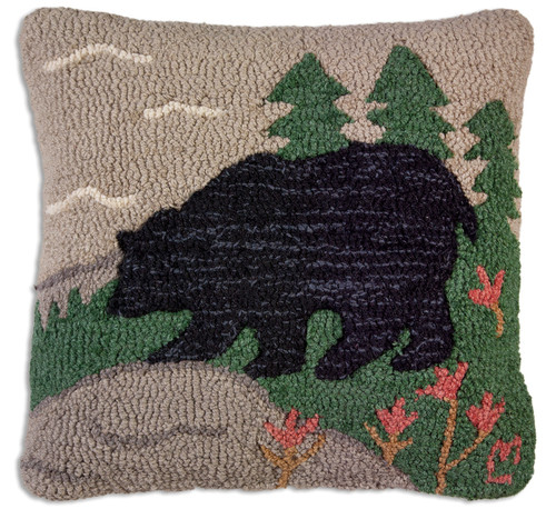 Woodsy Bear Hooked Throw Pillow