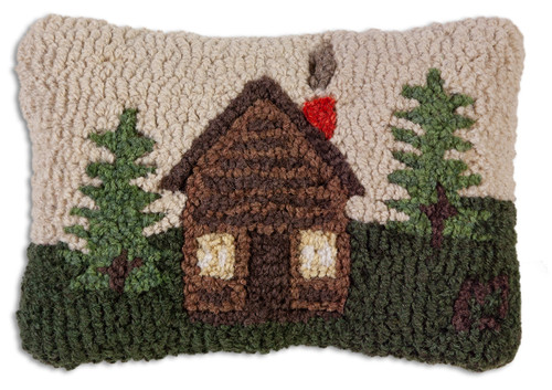 Log Cabin Hooked Wool Pillow