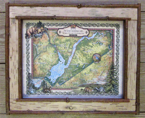 Great Sacandaga Lake Map in Birch Bark Frame