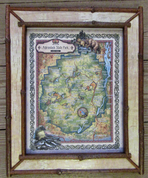 Adirondack Park Map in a Birch Bark Frame