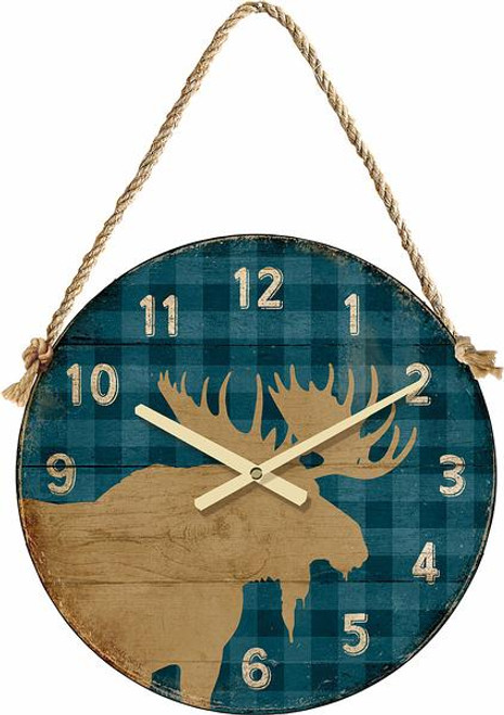 "Moose on Blue Plaid 21"" Round Clock"