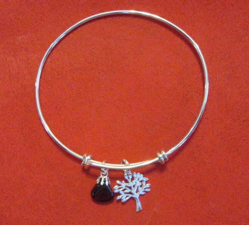Garnet and Sterling Tree Bracelet