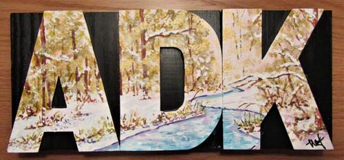 Wood Block Art Handmade  - ADK