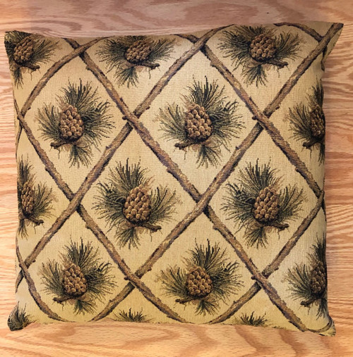 Beige Diamond Pinecone Tapestry Pillow