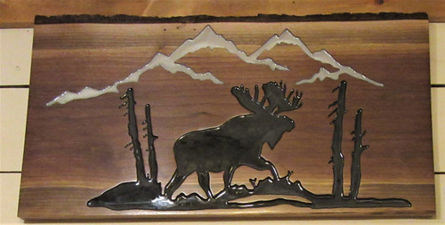 Adirondack Scene Carved - Moose