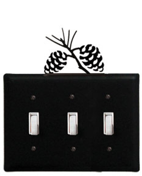 Black Wrought Iron Triple Switch Cover