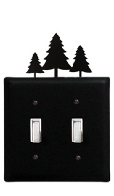 Black Wrought Iron Double Switch Cover - Trees