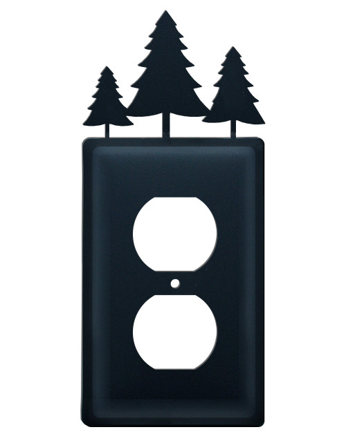 Black Wrought Iron Outlet Switch Cover - Trees