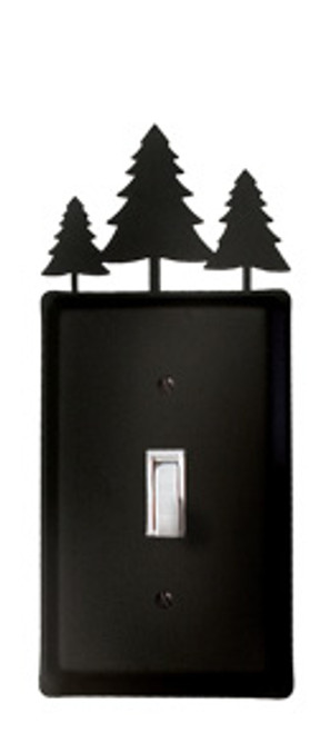 Black Wrought Iron Single Switch Cover - Trees
